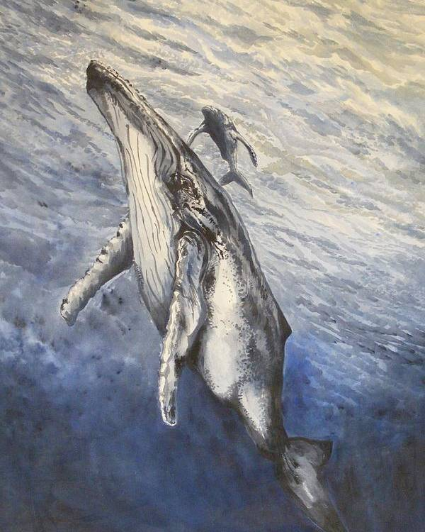 Whales Poster featuring the painting Whale Song by Donald Dean