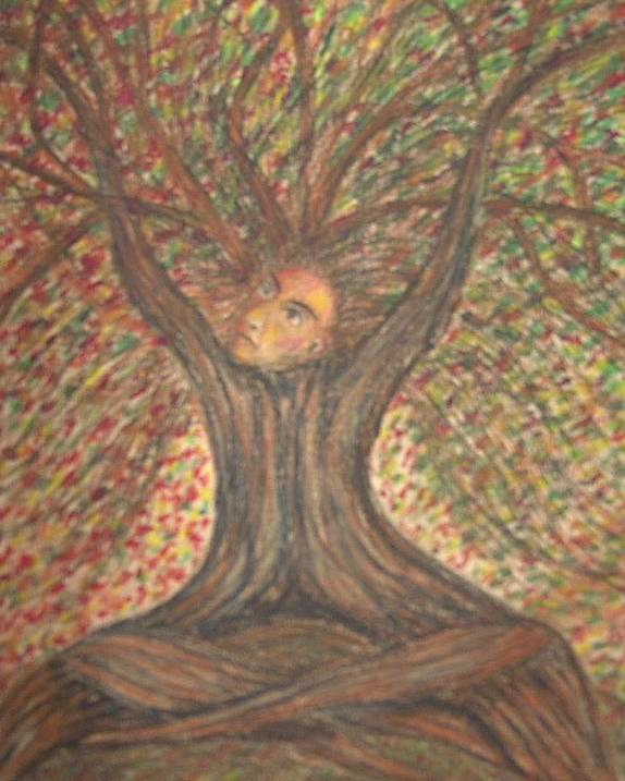 Tree Surreal Lanscape Portrait Poster featuring the painting What Now by Sally Van Driest