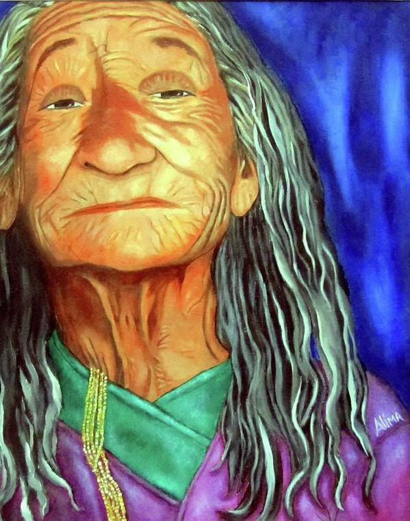 Native American Poster featuring the painting What She Went Through by Alima Newton