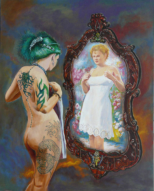 Nude Poster featuring the painting What The World Sees by Tomas OMaoldomhnaigh