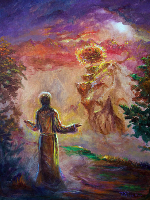 Holy Spirit Poster featuring the painting when the Lord called Moses by Tommy Winn