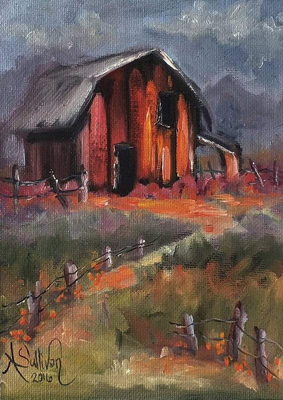 Barn Poster featuring the painting Where Flowers Bloom by Angela Sullivan