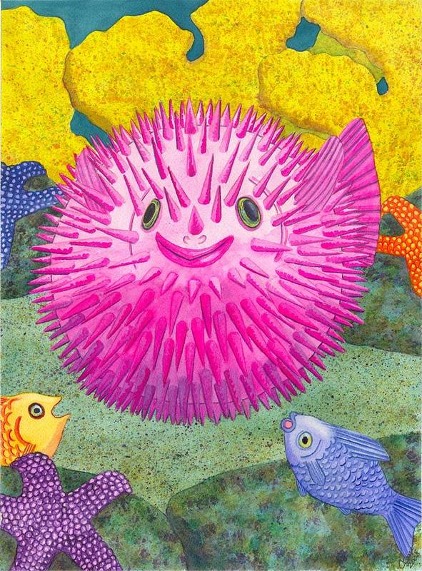 Puffer Fish Poster featuring the painting Where's Pinkfish by Catherine G McElroy