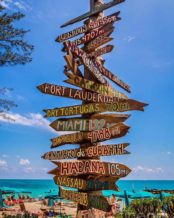 Key West Keys Fl Florida Beach Directional Signs Fort Zachary Taylor State Park Poster featuring the photograph Which Way Did He Go? by Karl Greeson