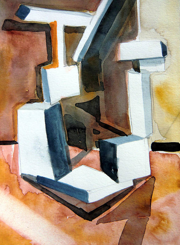 Watercolor Poster featuring the painting White Abstract by Mindy Newman