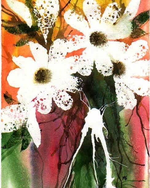 Daisy Poster featuring the painting White Daisies by Marsha Elliott
