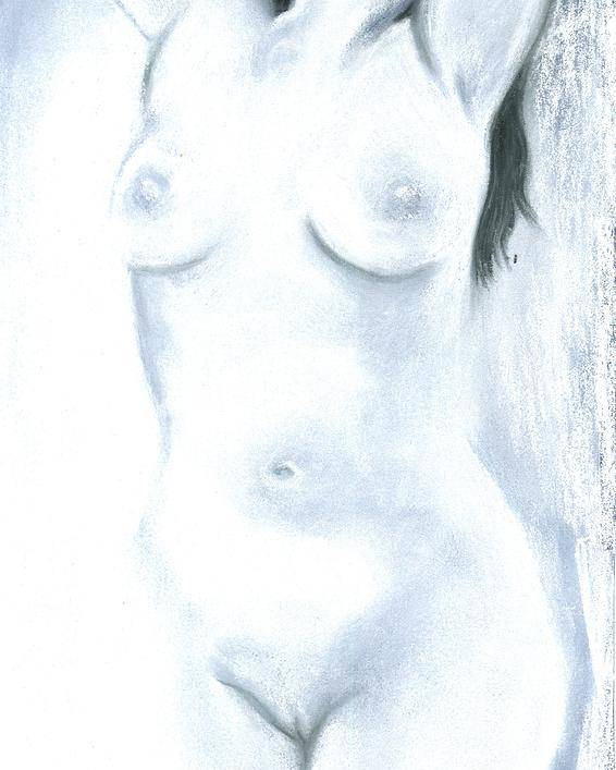 Chalk Charcoal Drawing Erotica Female Nude Sex Sexy Sexual Sensual Poster featuring the drawing White Heat by Cartoon Hempman