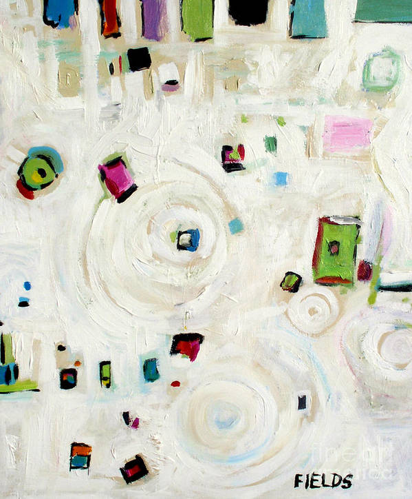 White Poster featuring the painting White On White Abstract by Karen Fields