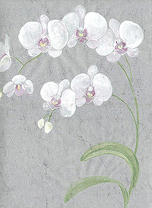 Orchids Poster featuring the painting White Orchids On Sprigs by Marja Koskinen-Talavera