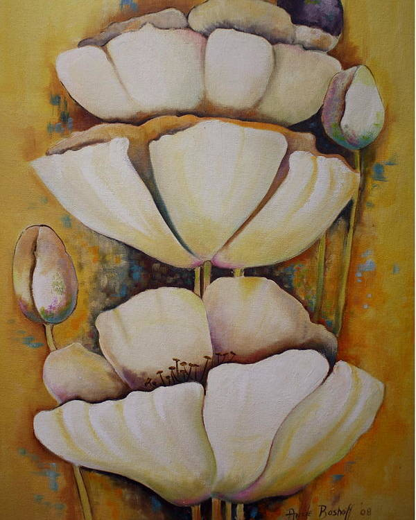Poppys Poster featuring the painting White Poppys by Ansie Boshoff