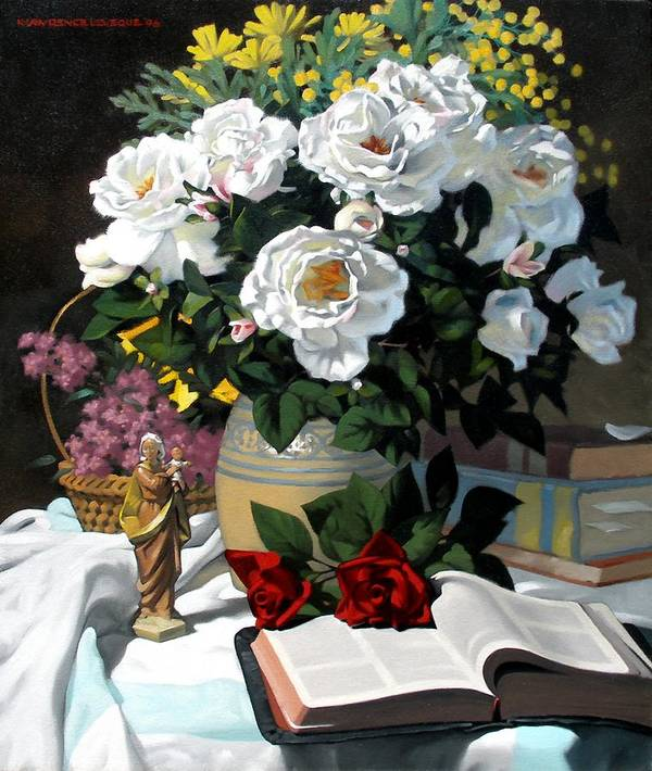 Roses Poster featuring the painting White Roses by Kevin Lawrence Leveque
