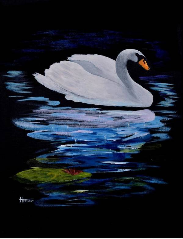 White Poster featuring the painting White Swan by Dick Heberly