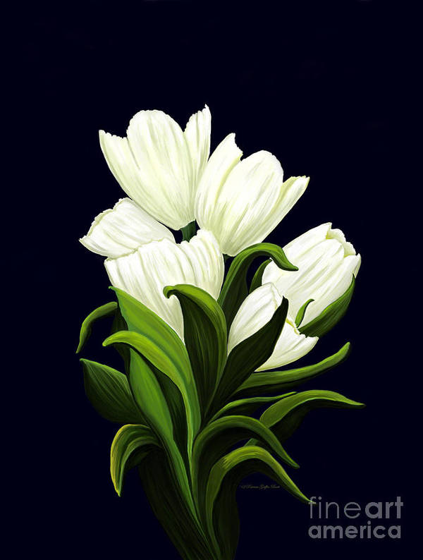 Mixed Media Poster featuring the painting White Tulips by Patricia Griffin Brett