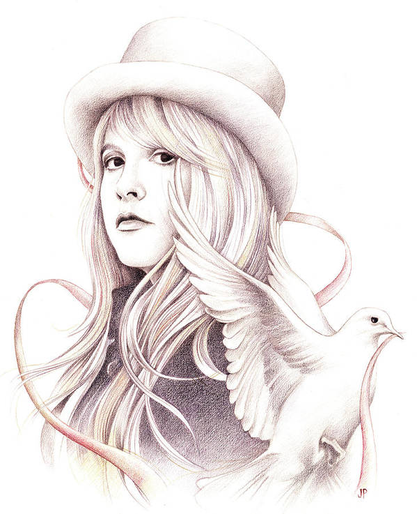 Stevie Nicks Poster featuring the drawing White Winged Dove by Johanna Pieterman