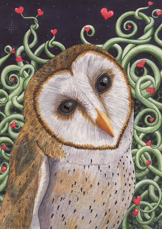 Owl Poster featuring the painting Who do you love ? by Catherine G McElroy
