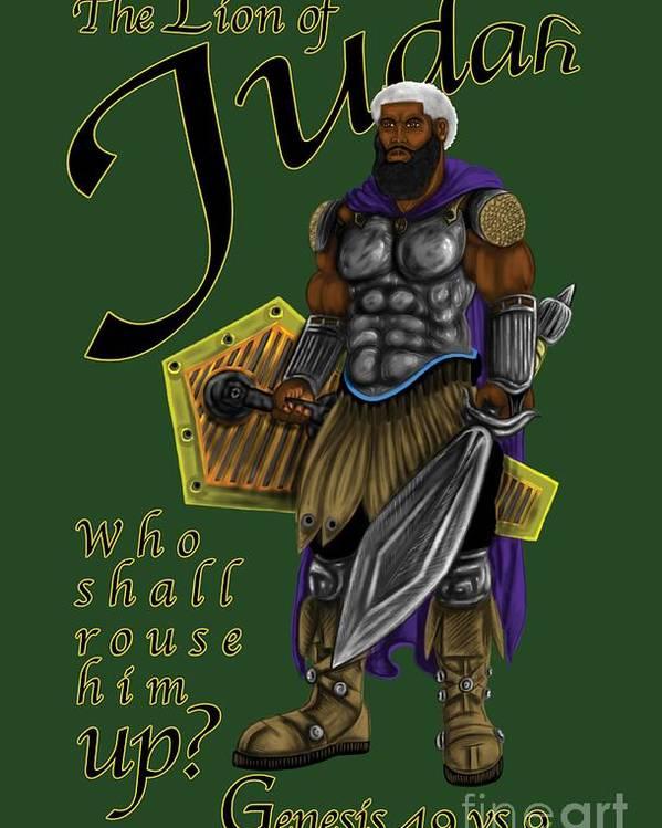 Judah Poster featuring the digital art Who Shall Rouse Judah-yellow Trim by Robert Watson