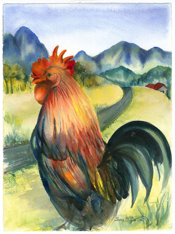 Beatiful Colos Poster featuring the painting Why Did The Rooster Cross The Road by Ileana Carreno