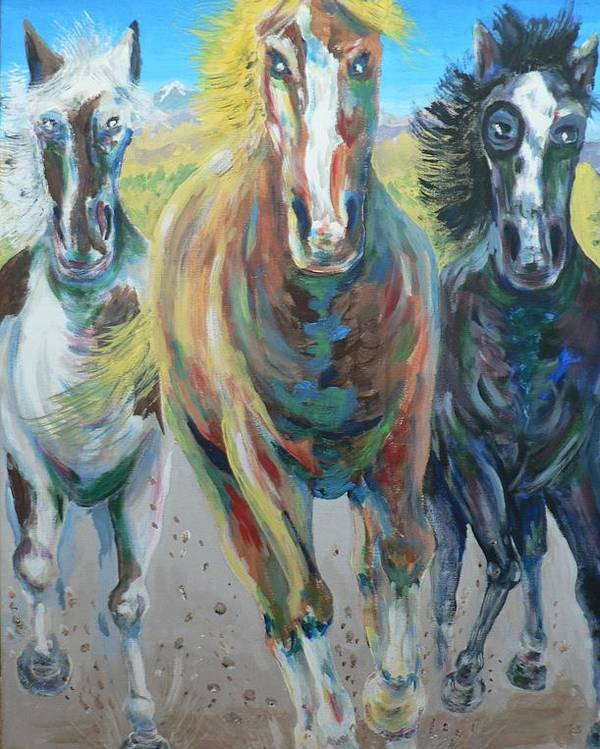 Three Poster featuring the painting Wild And Free by Dan Bozich