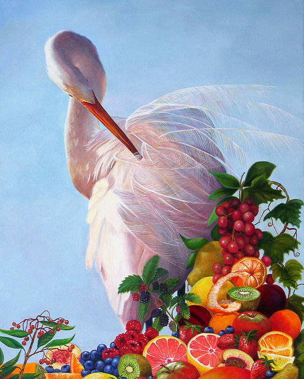 Egret Poster featuring the painting Wild And Sweet 7 by Valerie Aune