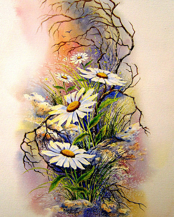 Floral Poster featuring the painting Wild Daisies by Brooke Lyman