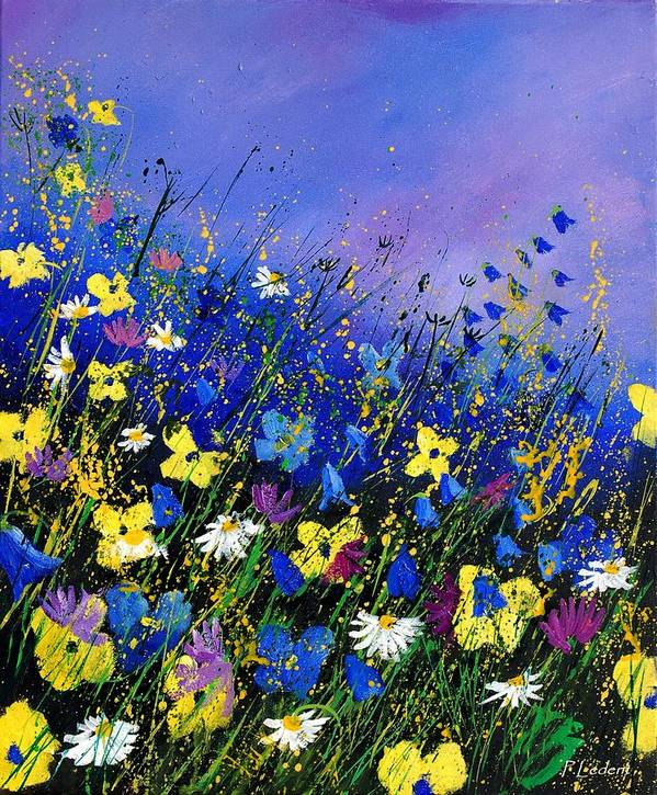 Flowers Poster featuring the painting Wild flowers 560908 by Pol Ledent