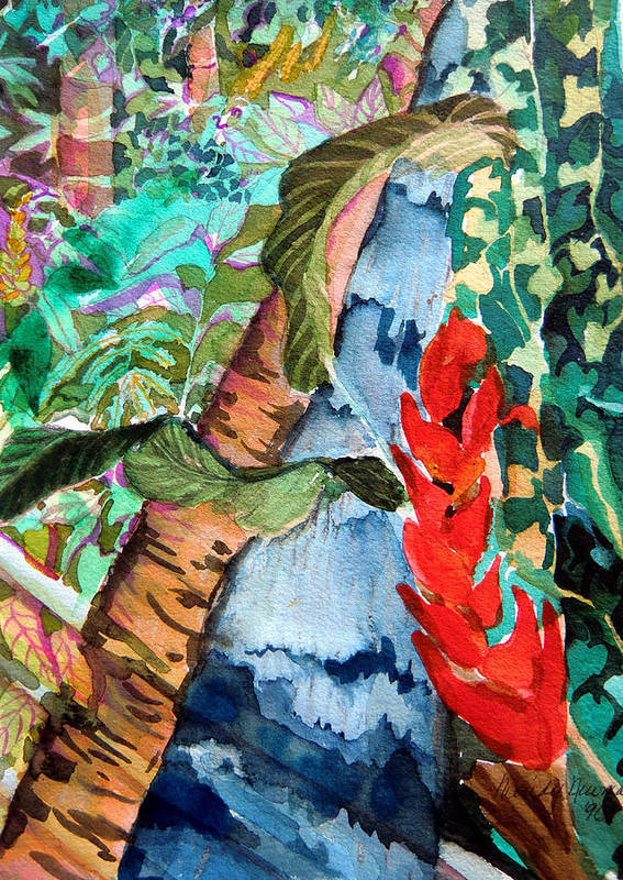 Waterfall Poster featuring the painting Wild Jungle by Mindy Newman