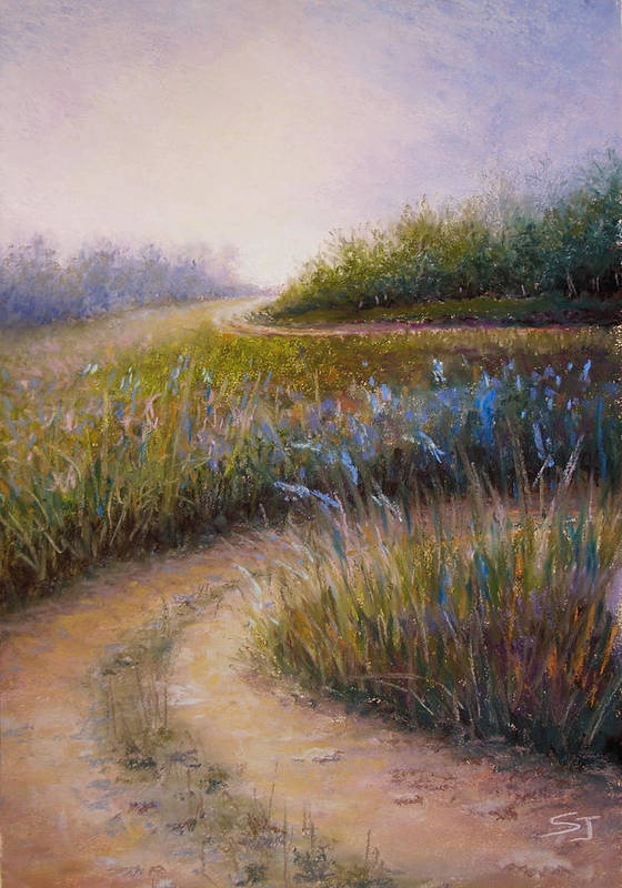 Lanscape Poster featuring the painting Wildflower Road by Susan Jenkins