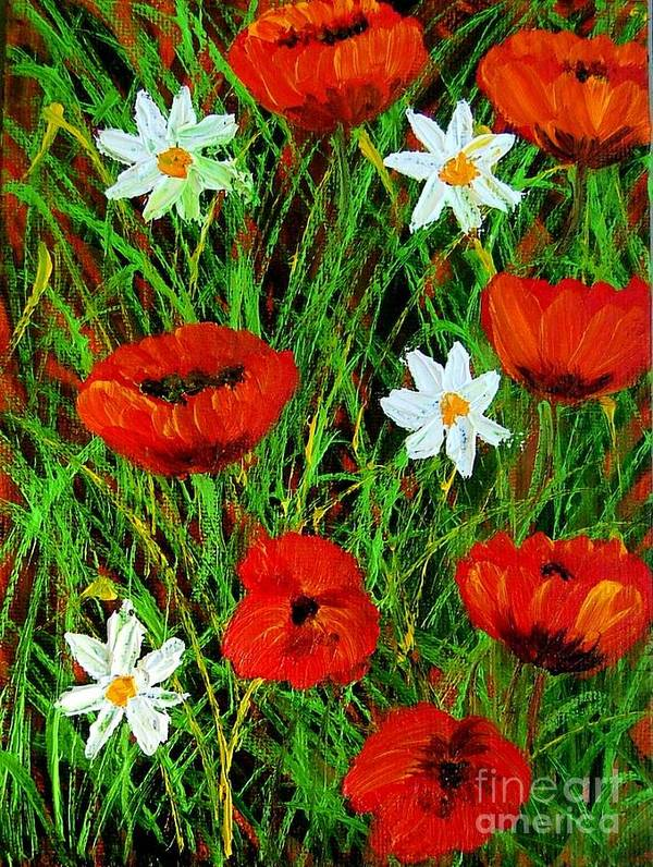 Poppies Poster featuring the painting Wildflowers by Inna Montano