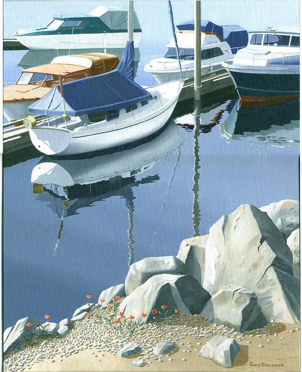Sailboat Poster featuring the painting Wildflowers On The Breakwater by Gary Giacomelli