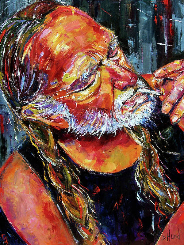 Willie Nelson Poster featuring the painting Willie Nelson Booger Red by Debra Hurd