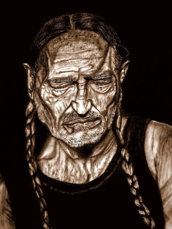 Willie Nelson Poster featuring the drawing Willie Nelson by Herbert Renard