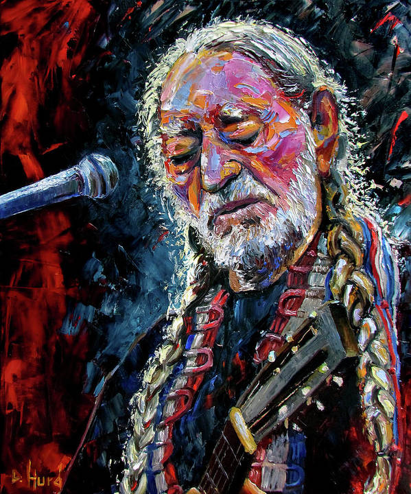Booger Red Poster featuring the painting Willie Nelson Portrait by Debra Hurd
