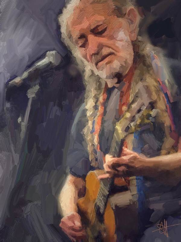 Willie Nelson Music Guitar {soc} Poster featuring the digital art Willie by Scott Waters