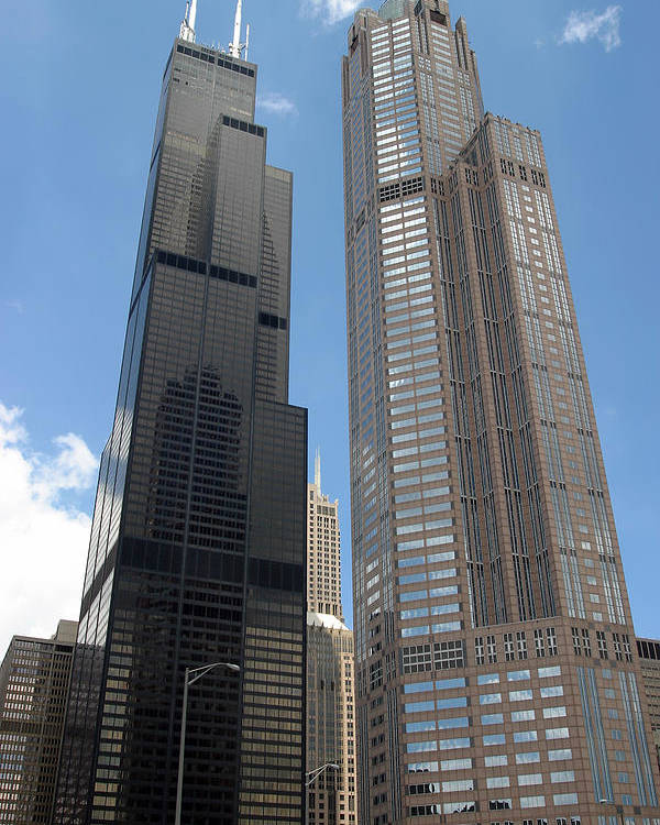 3scape Poster featuring the photograph Willis Tower Aka Sears Tower And 311 South Wacker Drive by Adam Romanowicz