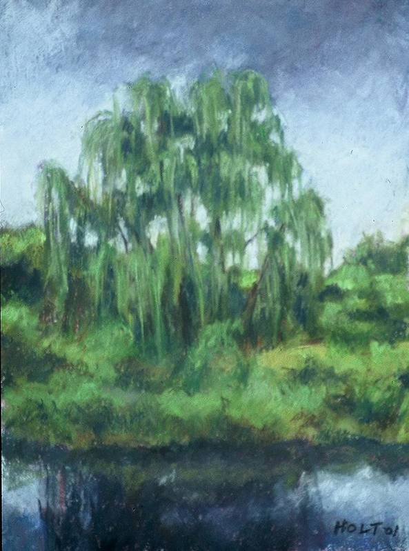 Landscape Poster featuring the painting Willow Tree by Dolores Holt
