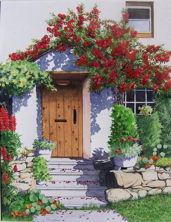 Roses Poster featuring the painting Wiltshire Cottage by Constance Drescher