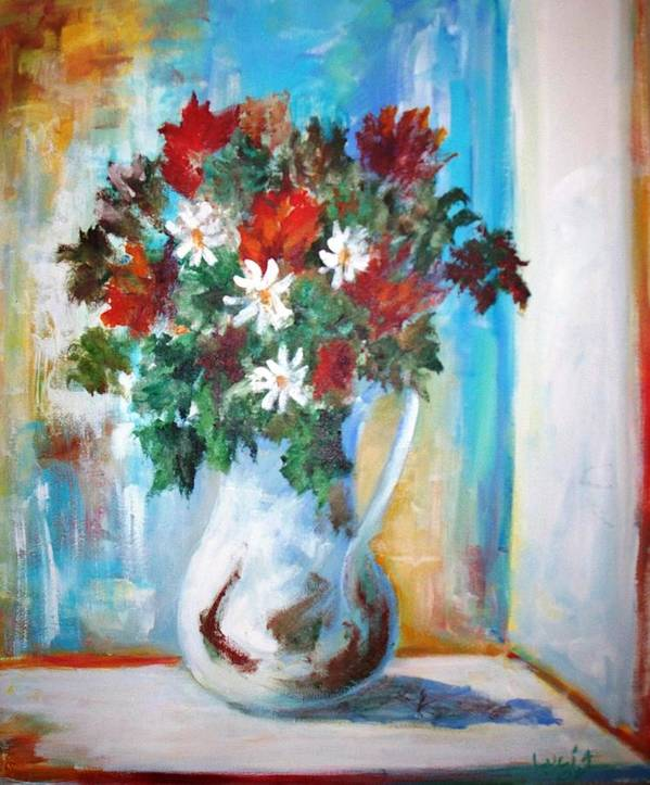 Vase. Flowers. French Light. Impressionism. Poster featuring the print Window Box by Carl Lucia