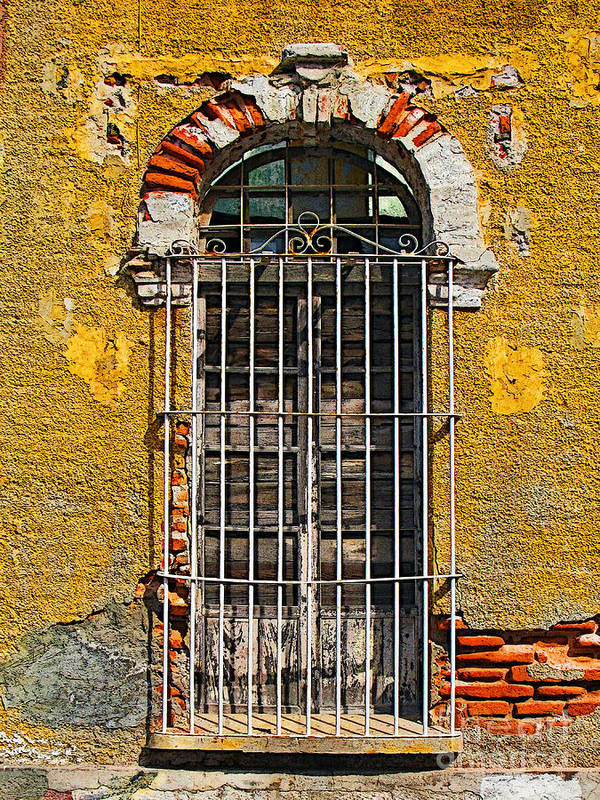 Darian Day Poster featuring the photograph Window In The Yellow Wall By Darian Day by Mexicolors Art Photography