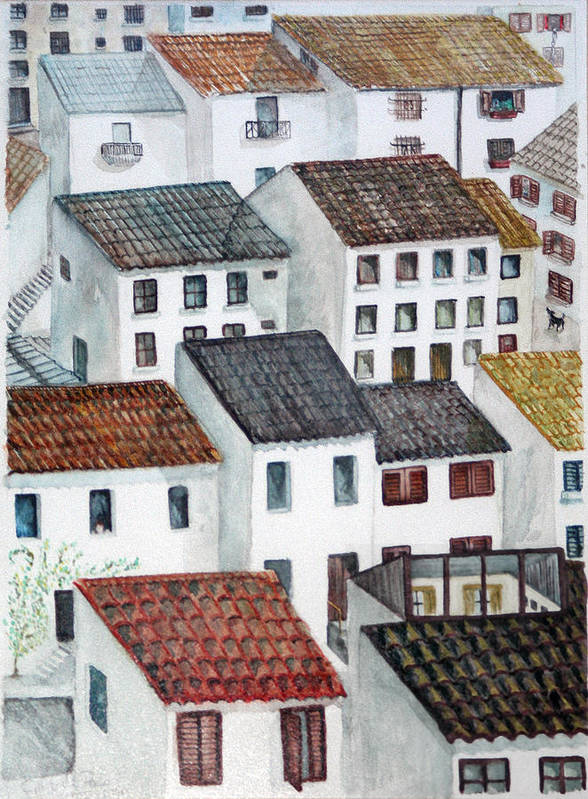 Watercolour Poster featuring the painting Windows by Gaile Griffin Peers
