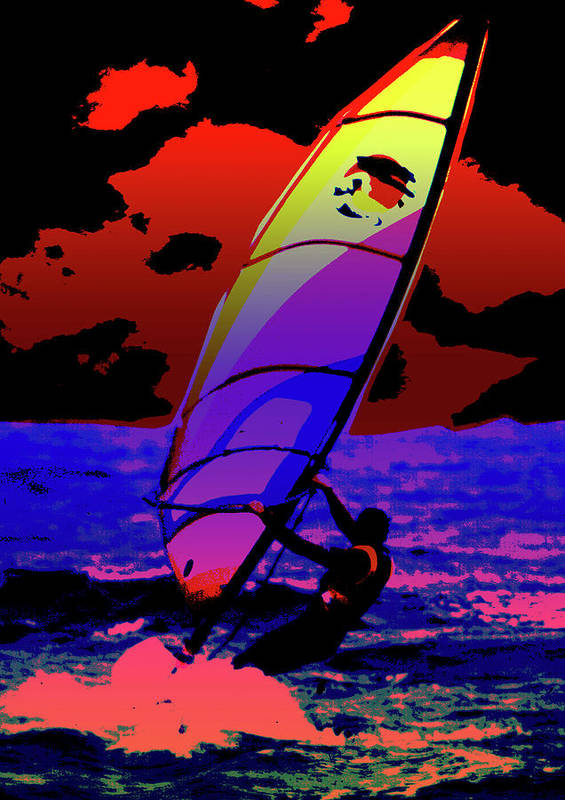 Abstract Poster featuring the mixed media Windsurfer by Brian Roscorla