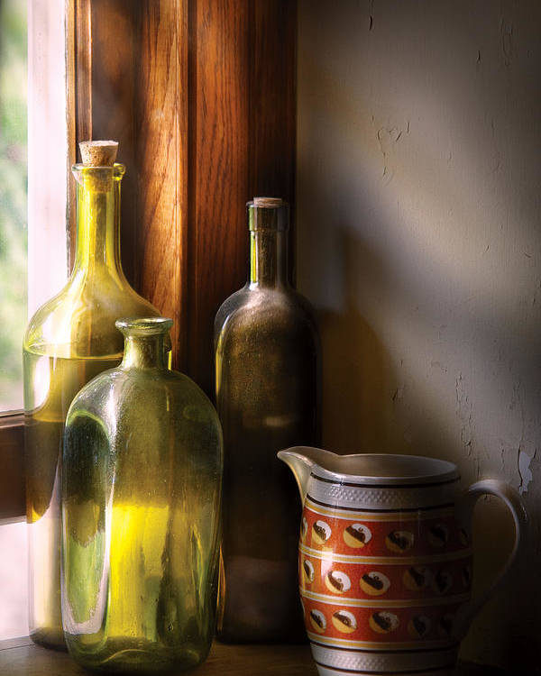 Savad Poster featuring the photograph Wine - Three Bottles by Mike Savad