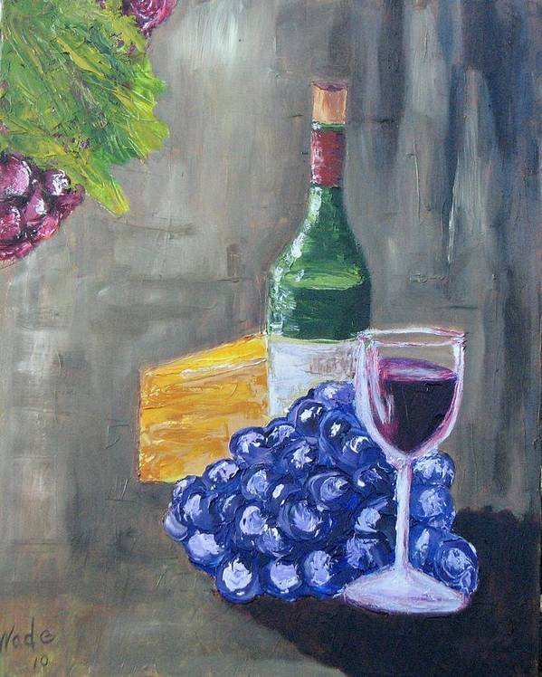 Wine Poster featuring the painting Wine And Cheese by Craig Wade
