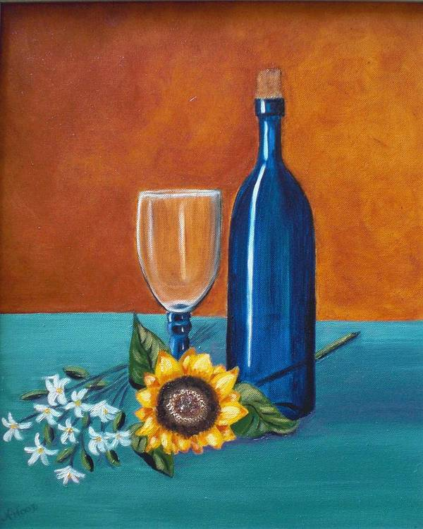 Wine Poster featuring the painting Wine And Flowers by Nancy Sisco