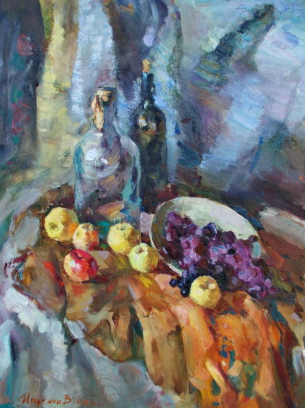 Fruit Poster featuring the painting Wine And Fruit by Ishenko V'yacheslav