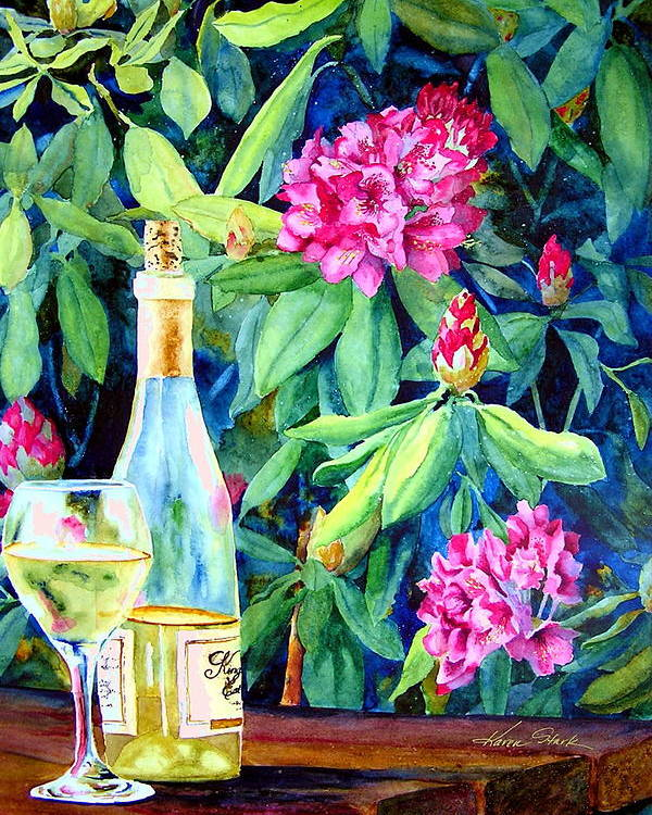 Rhododendron Poster featuring the painting Wine And Rhodies by Karen Stark