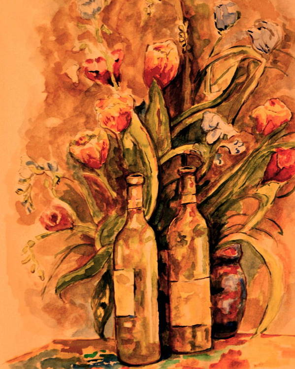 Wine Bottles Poster featuring the painting Wine And Tulips by Dan Earle