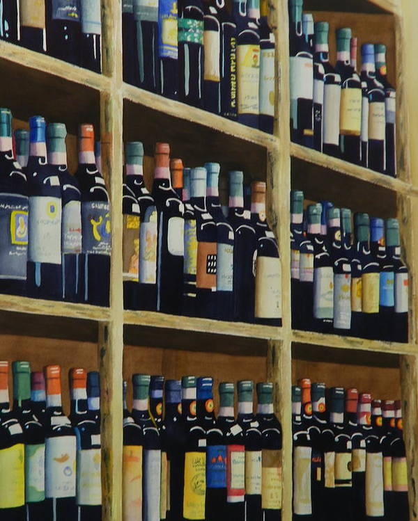 Wine Poster featuring the painting Wine Closet by Terry Honstead