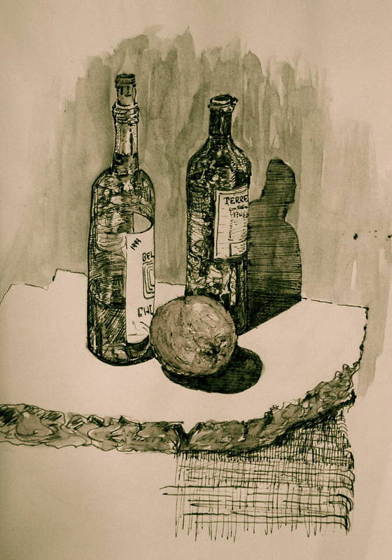 Landscape Poster featuring the drawing Wine On The Rock by Dan Earle