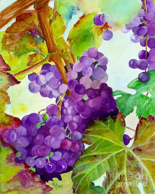 Wine Poster featuring the painting Wine Vine by Karen Fleschler