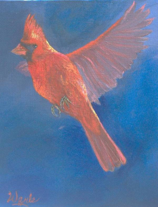 Cardinal Poster featuring the painting Wings Of A Prayer by Bill Werle